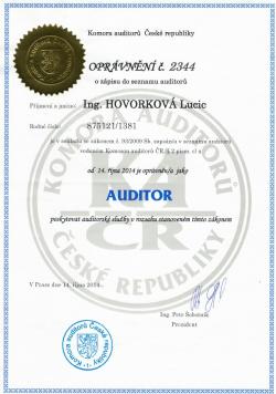 Certifikát auditora Ing. Lucie Hovorková